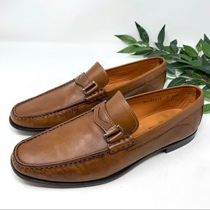 Santoni Shoes - Santoni Leather Penny Loafer Horsebit Cognac 10.5